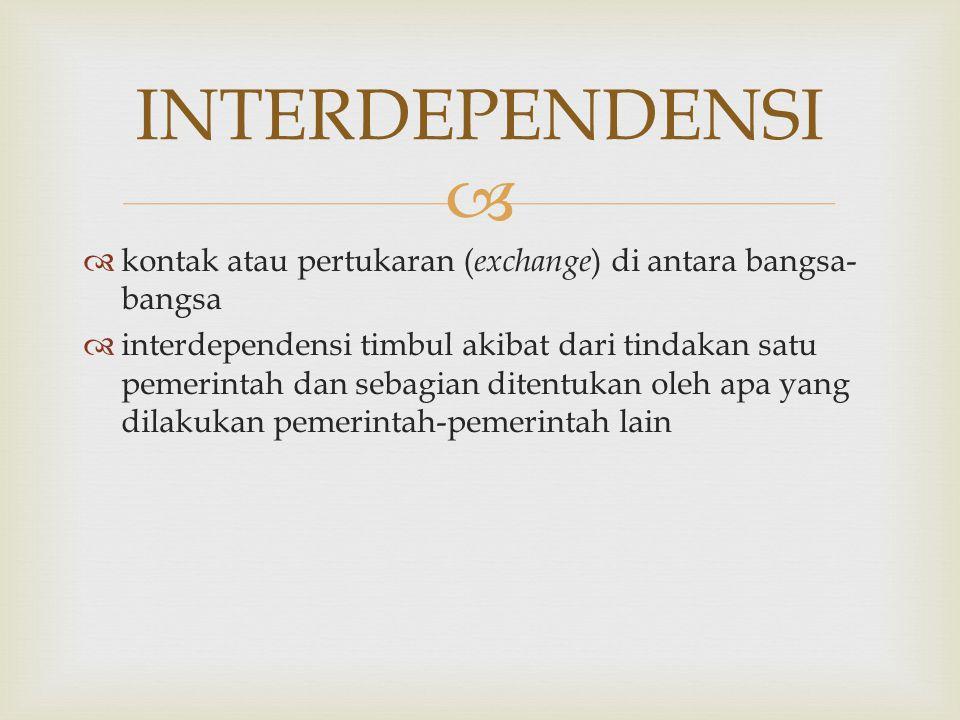 INTERDEPENDENSI kontak atau pertukaran (exchange) di antara bangsa-bangsa.