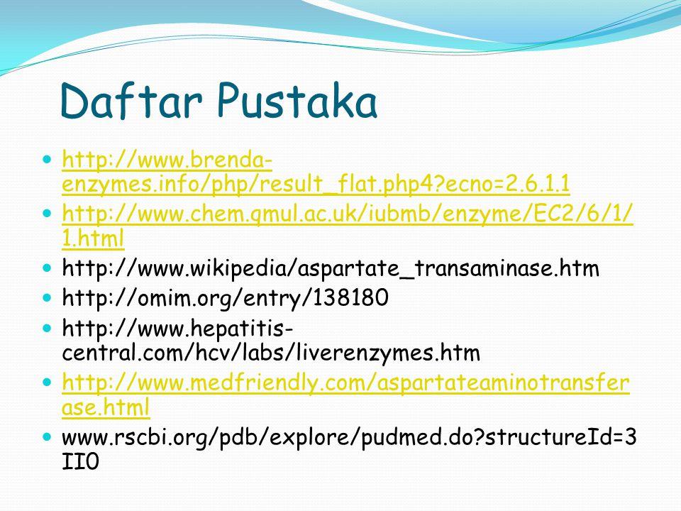 Daftar Pustaka http://www.brenda-enzymes.info/php/result_flat.php4 ecno=2.6.1.1. http://www.chem.qmul.ac.uk/iubmb/enzyme/EC2/6/1/1.html.
