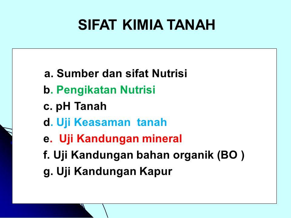 SIFAT KIMIA TANAH a. Sumber dan sifat Nutrisi b. Pengikatan Nutrisi
