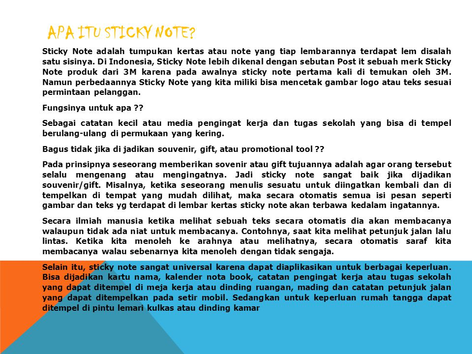 APA ITU STICKY NOTE