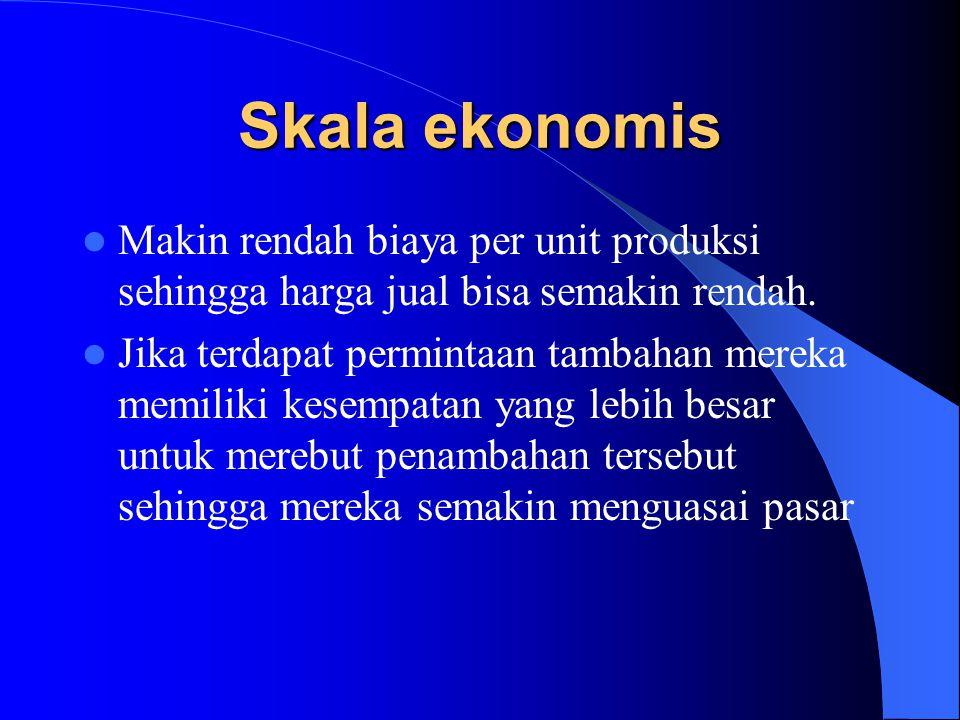 Skala ekonomis Makin rendah biaya per unit produksi sehingga harga jual bisa semakin rendah.