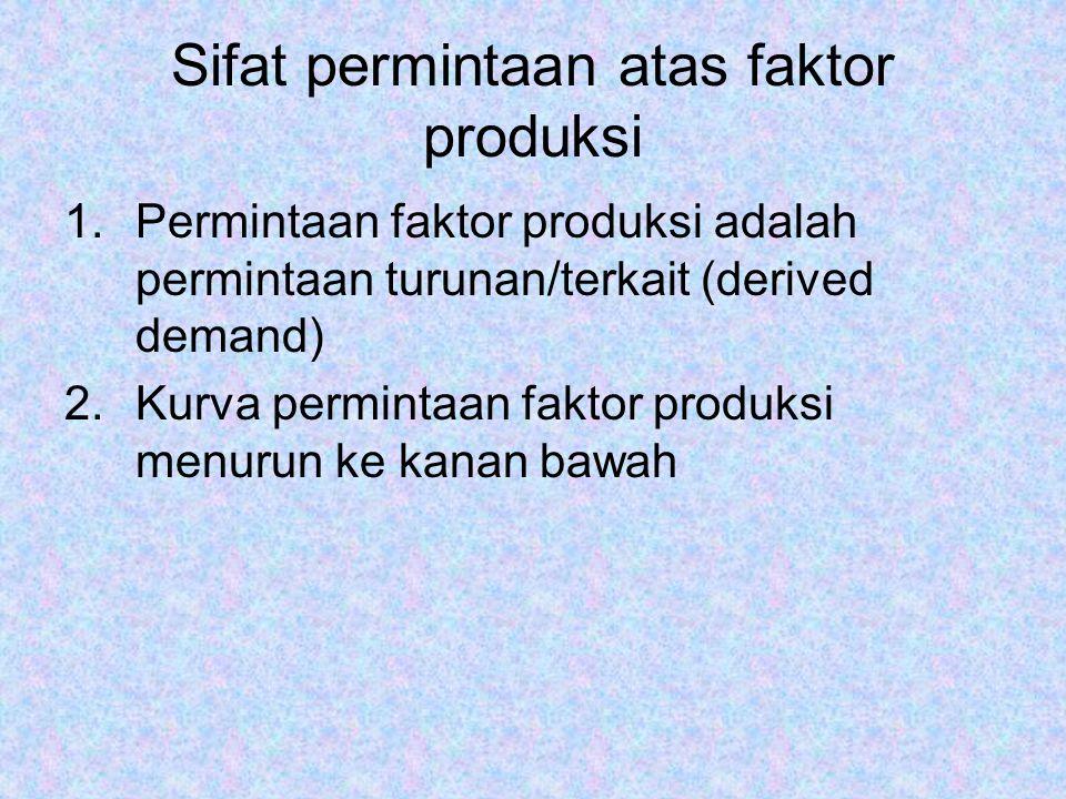Sifat permintaan atas faktor produksi