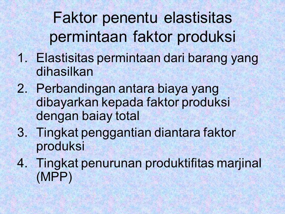 Faktor penentu elastisitas permintaan faktor produksi