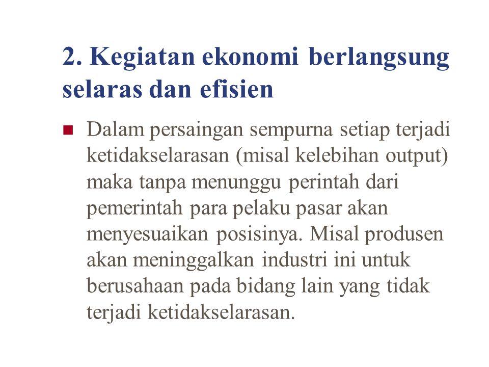 2. Kegiatan ekonomi berlangsung selaras dan efisien