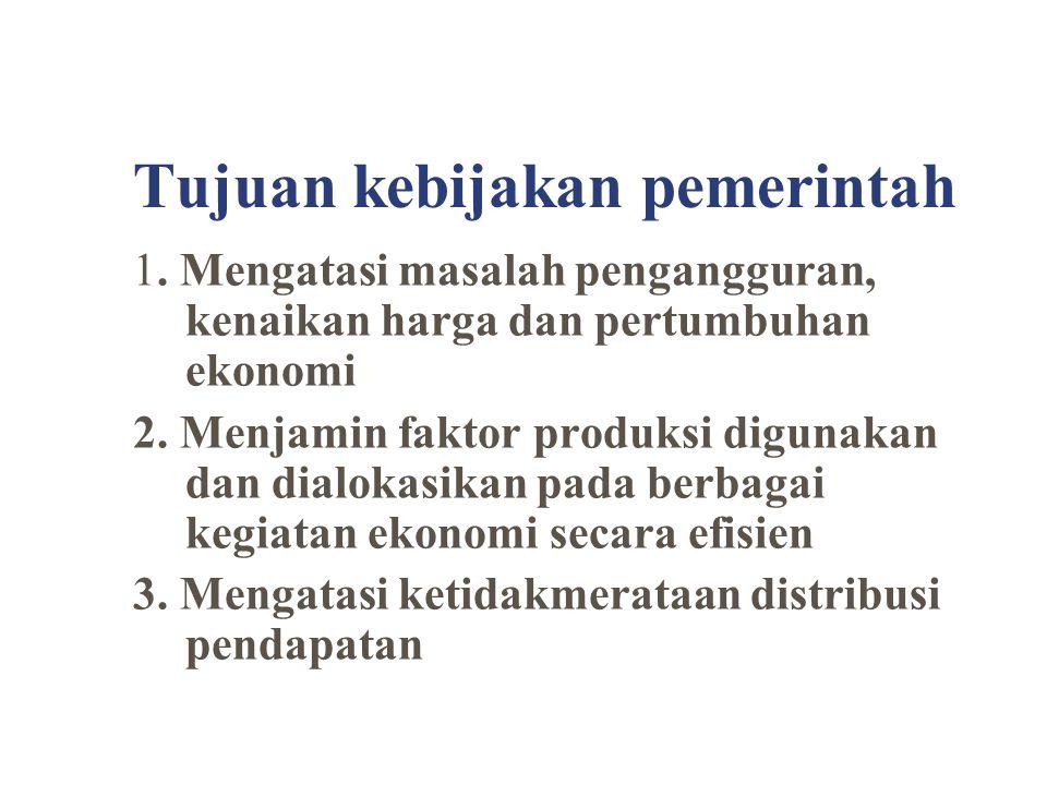Tujuan kebijakan pemerintah