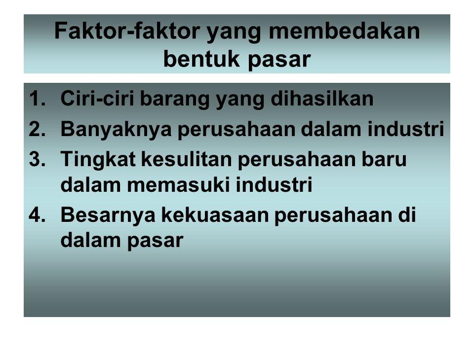 Faktor-faktor yang membedakan bentuk pasar