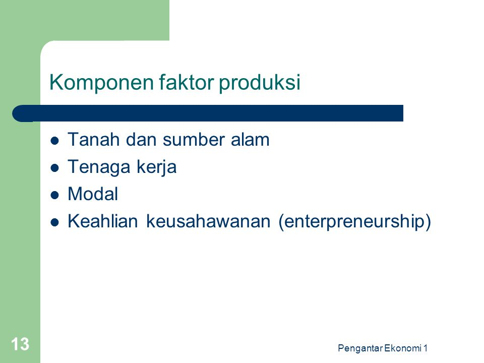 Komponen faktor produksi