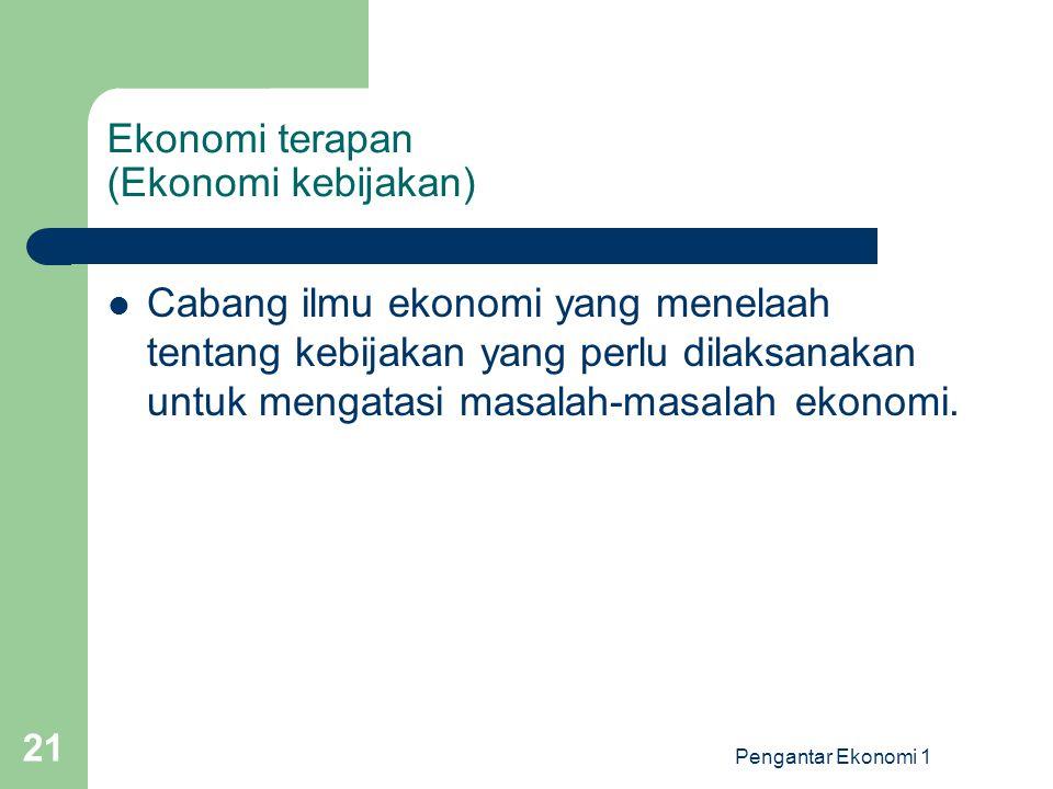 Ekonomi terapan (Ekonomi kebijakan)