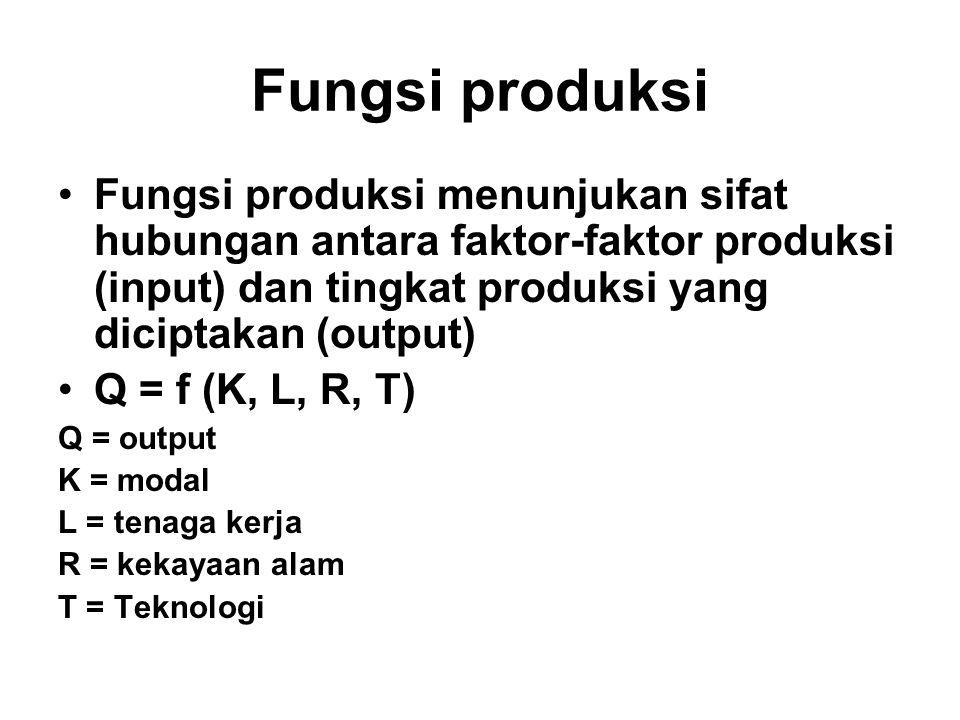 Fungsi produksi Fungsi produksi menunjukan sifat hubungan antara faktor-faktor produksi (input) dan tingkat produksi yang diciptakan (output)