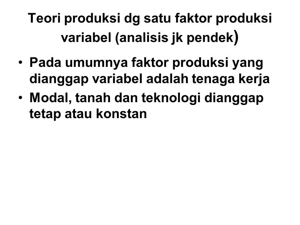 Teori produksi dg satu faktor produksi variabel (analisis jk pendek)