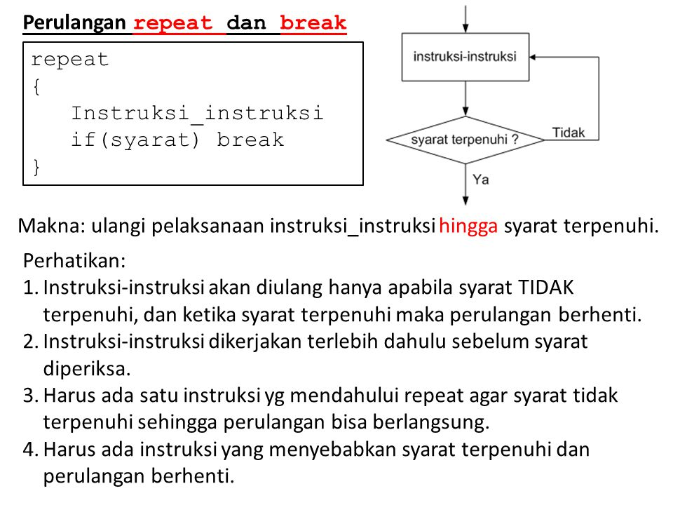 Perulangan repeat dan break