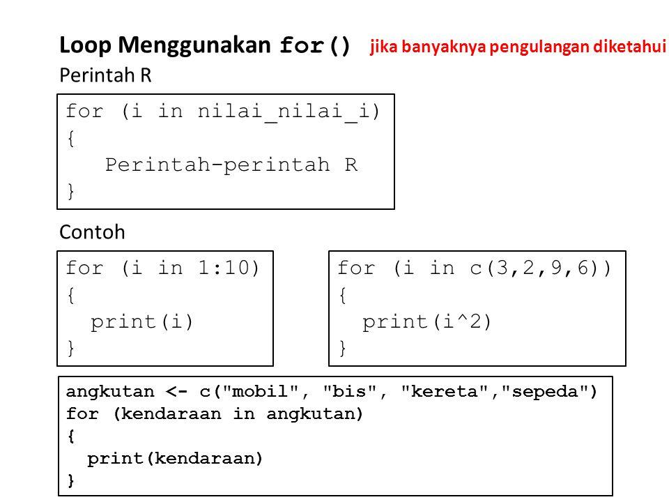 Loop Menggunakan for()