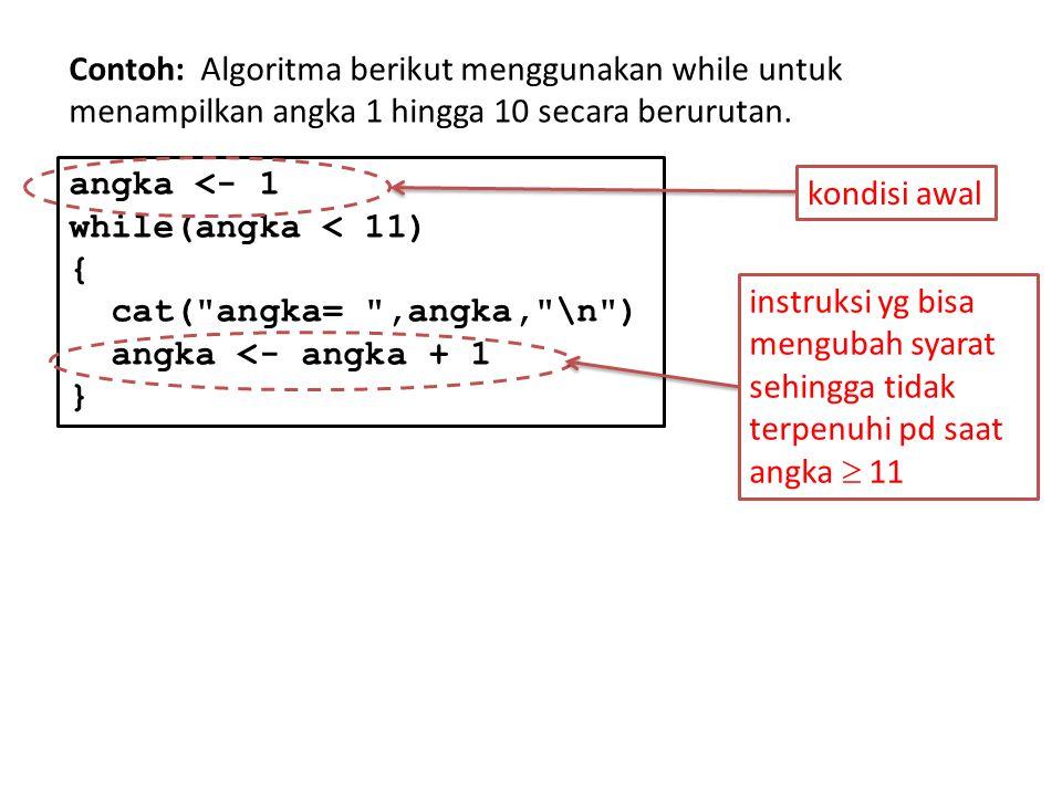 Contoh: Algoritma berikut menggunakan while untuk menampilkan angka 1 hingga 10 secara berurutan.