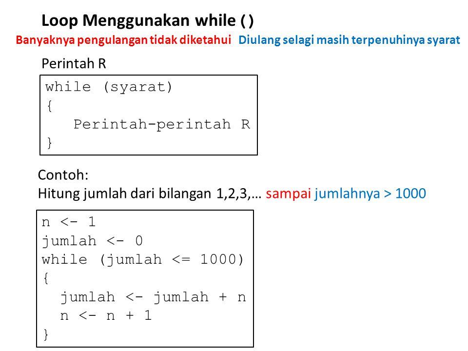 Loop Menggunakan while()