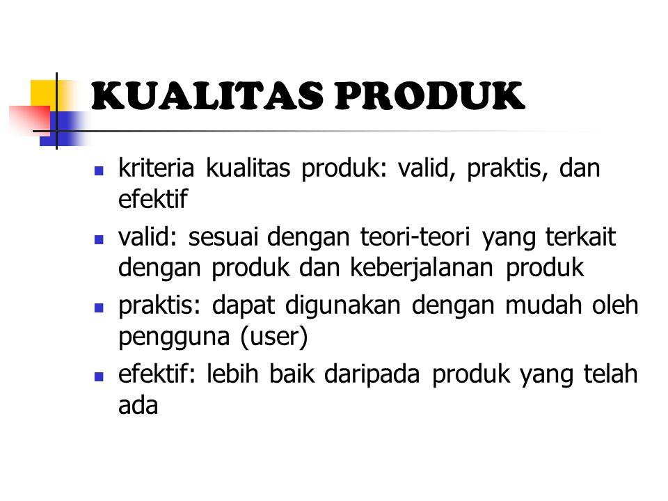 KUALITAS PRODUK kriteria kualitas produk: valid, praktis, dan efektif