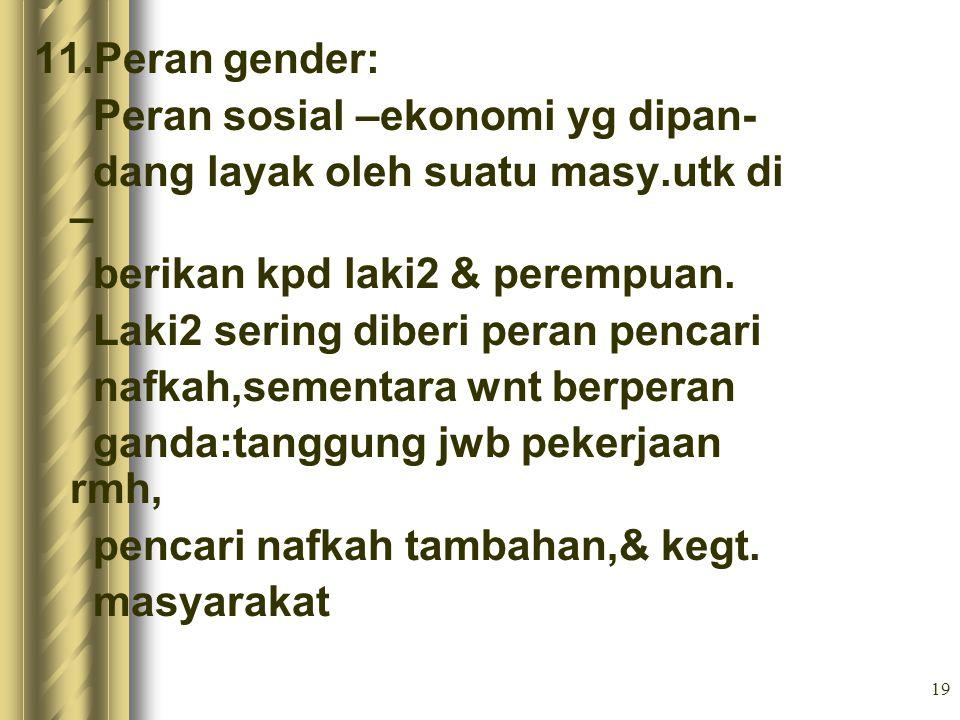 11.Peran gender: Peran sosial –ekonomi yg dipan- dang layak oleh suatu masy.utk di – berikan kpd laki2 & perempuan.