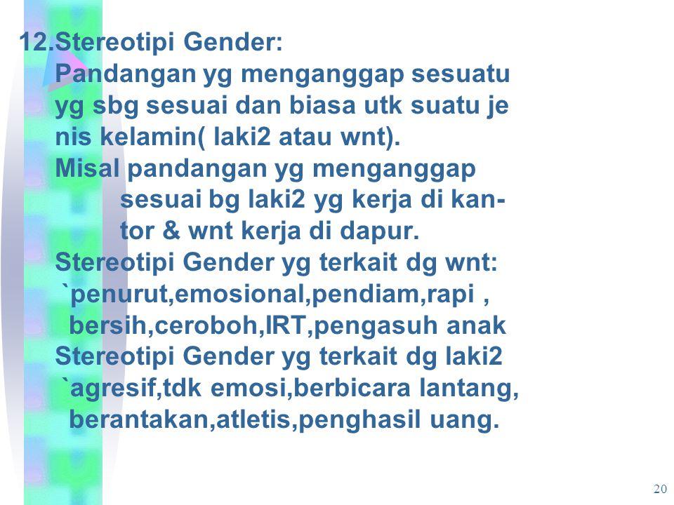 12.Stereotipi Gender: Pandangan yg menganggap sesuatu. yg sbg sesuai dan biasa utk suatu je. nis kelamin( laki2 atau wnt).