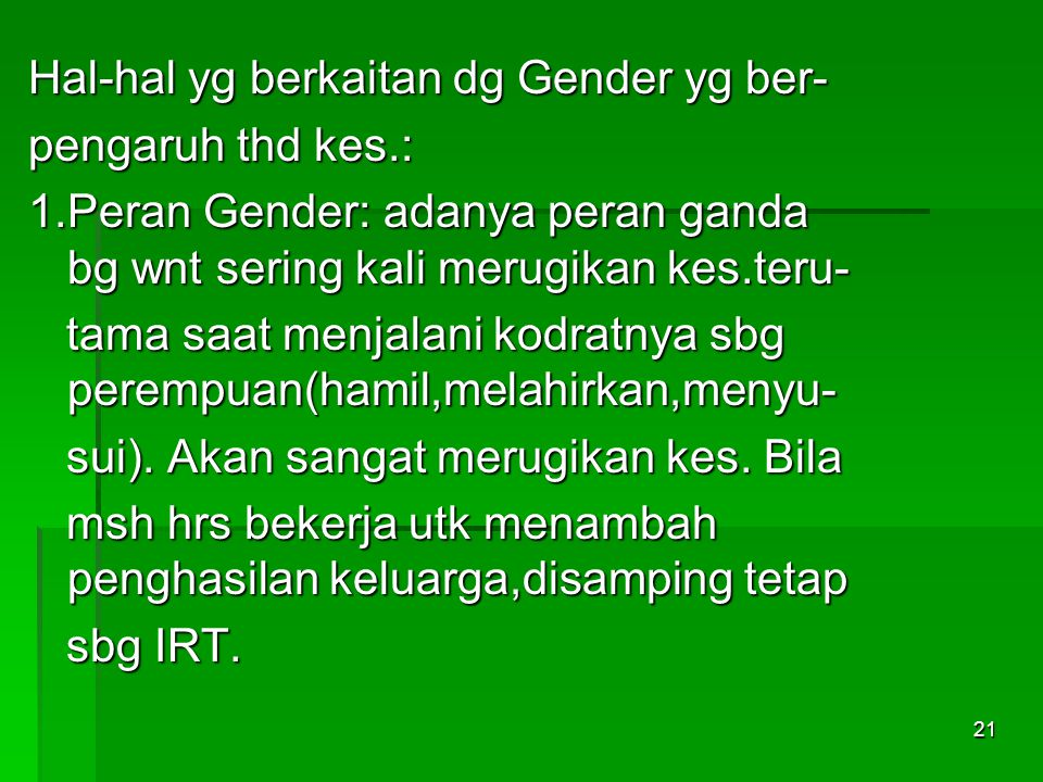 Hal-hal yg berkaitan dg Gender yg ber-
