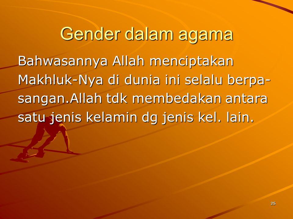 Gender dalam agama Bahwasannya Allah menciptakan