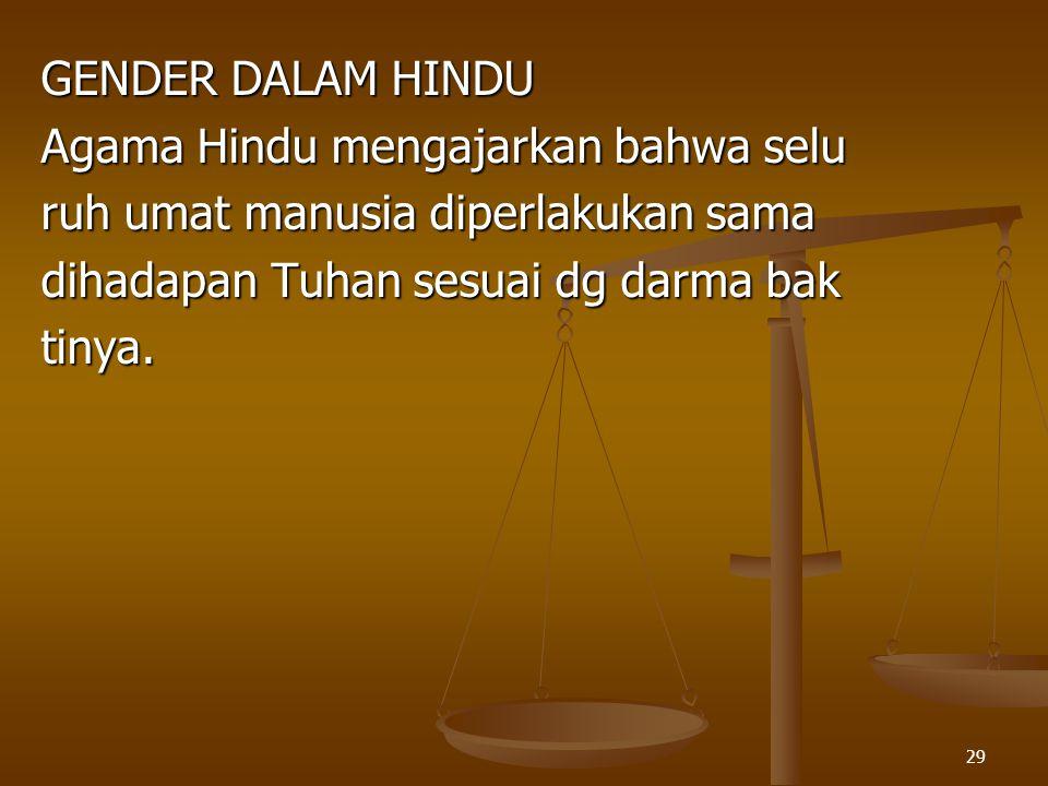 GENDER DALAM HINDU Agama Hindu mengajarkan bahwa selu. ruh umat manusia diperlakukan sama. dihadapan Tuhan sesuai dg darma bak.