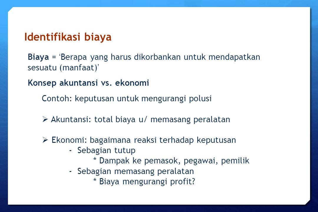 Identifikasi biaya Biaya = 'Berapa yang harus dikorbankan untuk mendapatkan sesuatu (manfaat)' Konsep akuntansi vs. ekonomi.