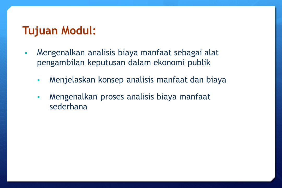 Tujuan Modul: Mengenalkan analisis biaya manfaat sebagai alat pengambilan keputusan dalam ekonomi publik.