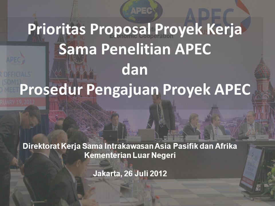 Prioritas Proposal Proyek Kerja Sama Penelitian APEC dan