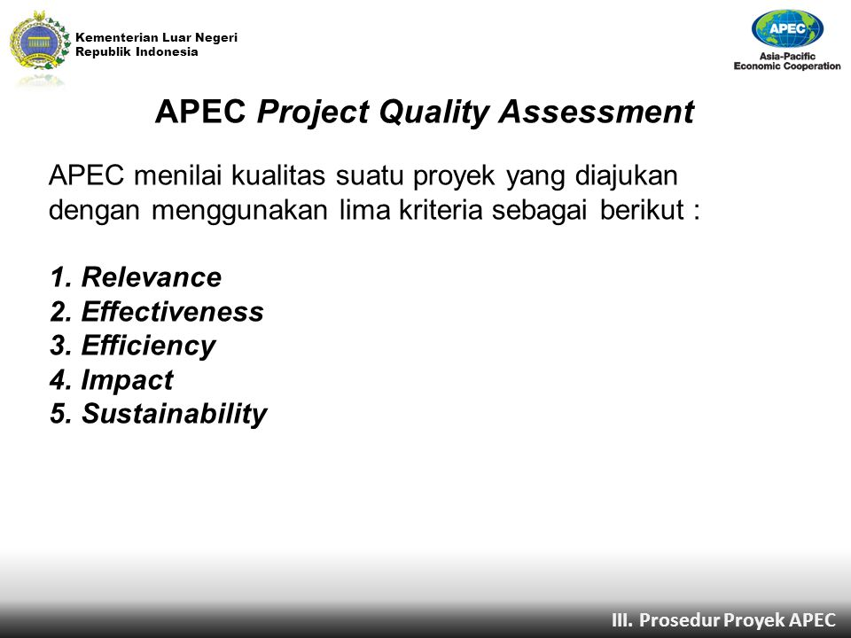 APEC Project Quality Assessment