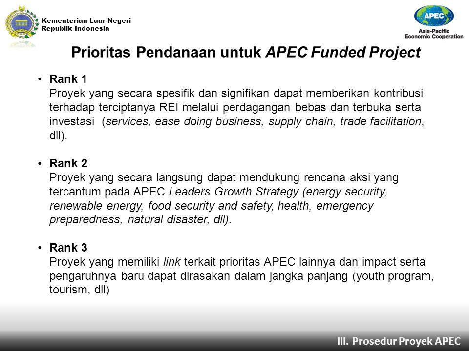 Prioritas Pendanaan untuk APEC Funded Project