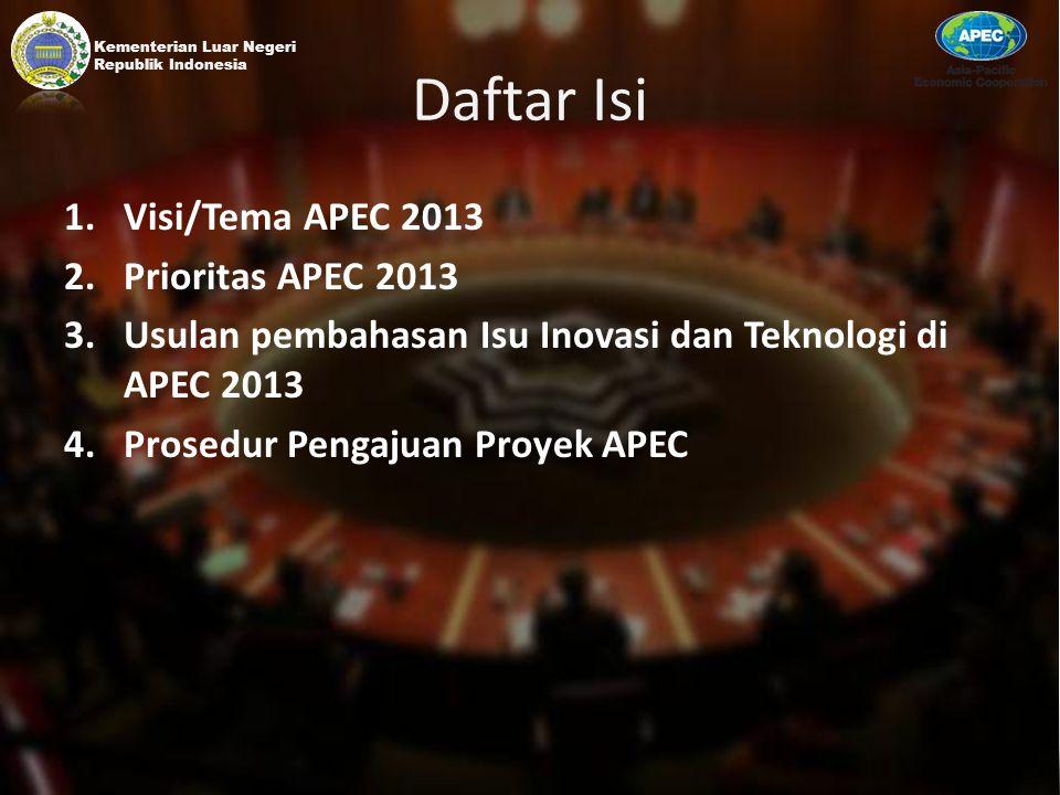 Daftar Isi Visi/Tema APEC 2013 Prioritas APEC 2013
