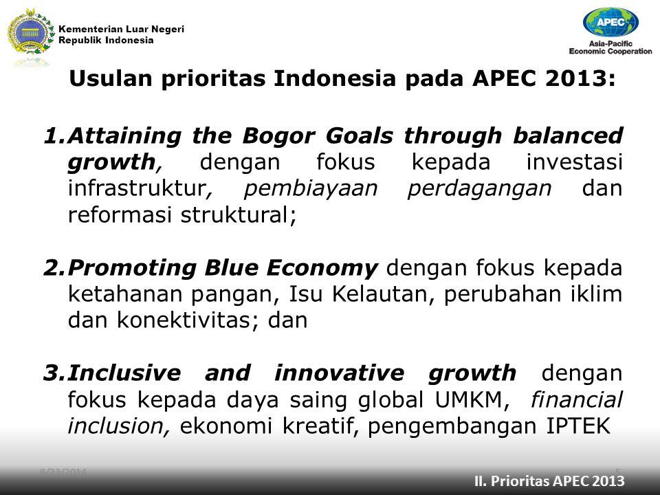 Usulan prioritas Indonesia pada APEC 2013: