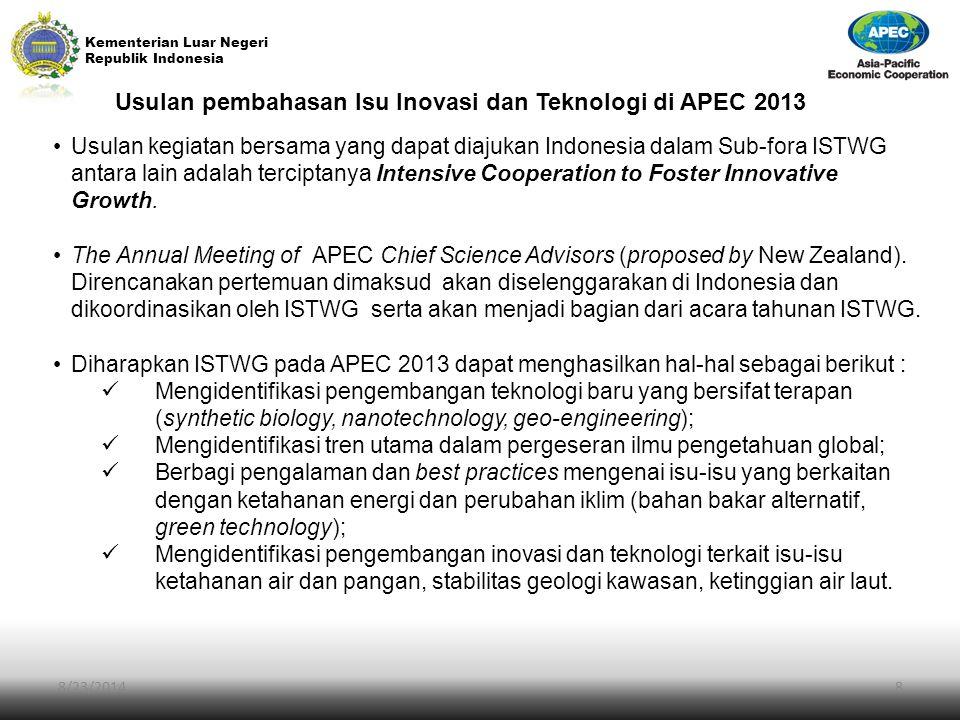 Usulan pembahasan Isu Inovasi dan Teknologi di APEC 2013