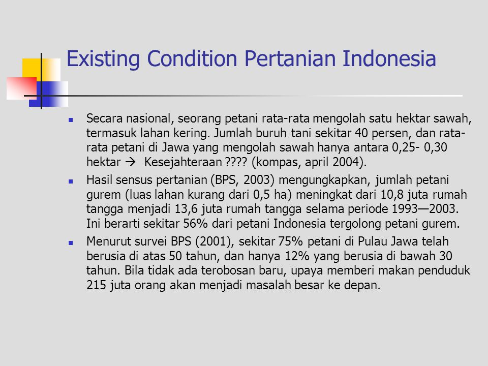 Existing Condition Pertanian Indonesia