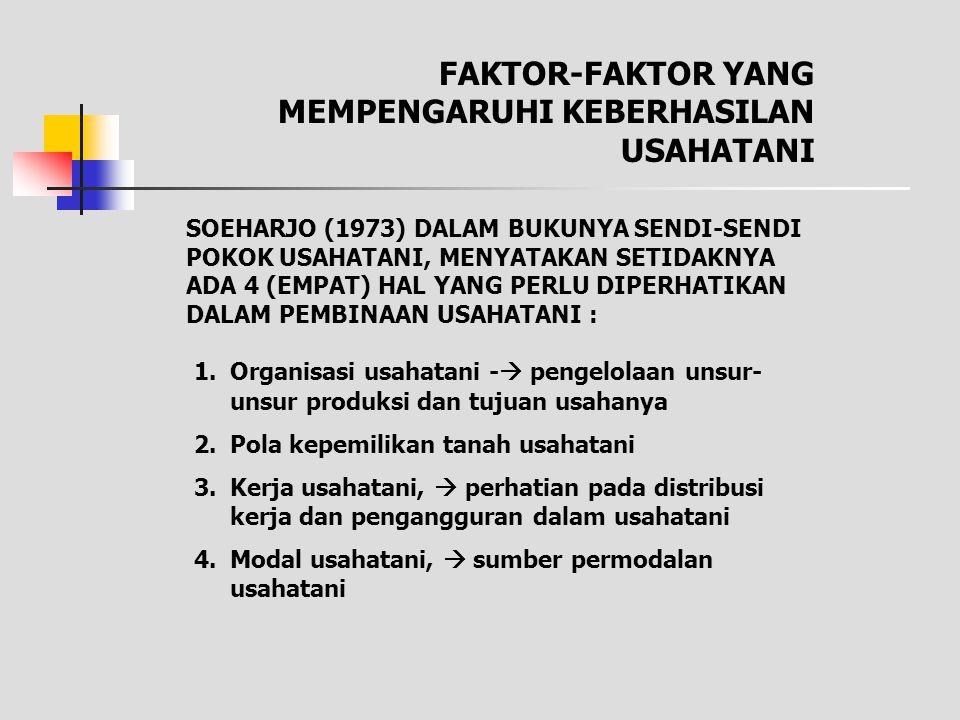FAKTOR-FAKTOR YANG MEMPENGARUHI KEBERHASILAN USAHATANI