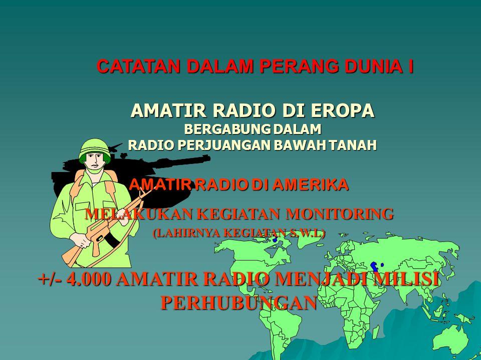 +/- 4.000 AMATIR RADIO MENJADI MILISI PERHUBUNGAN