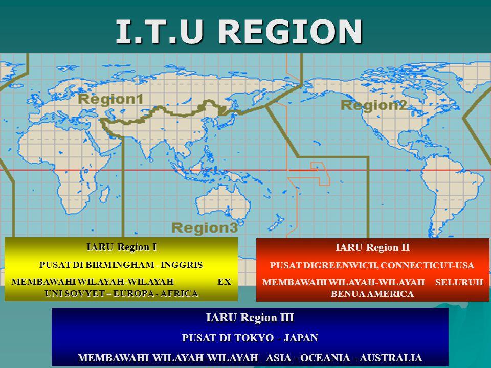 I.T.U REGION IARU Region III IARU Region I IARU Region II