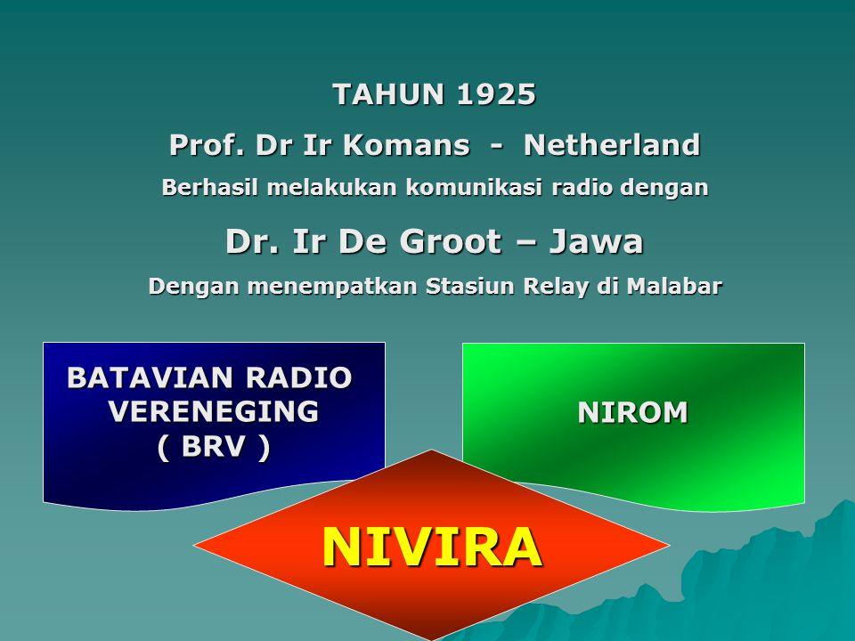 NIVIRA Dr. Ir De Groot – Jawa TAHUN 1925