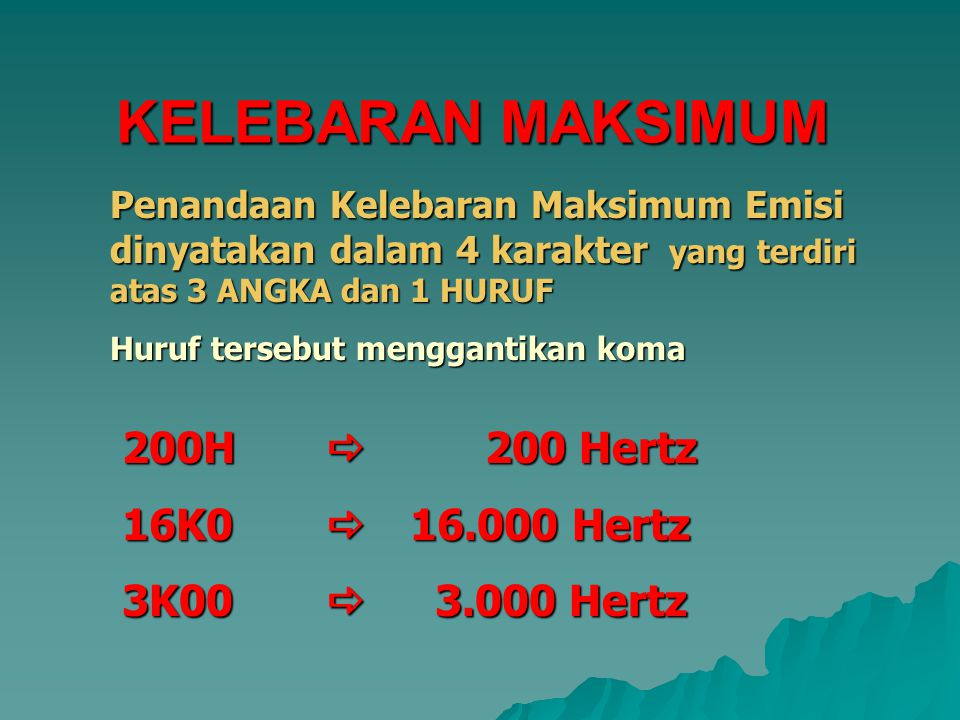 KELEBARAN MAKSIMUM 200H  200 Hertz 16K0  16.000 Hertz