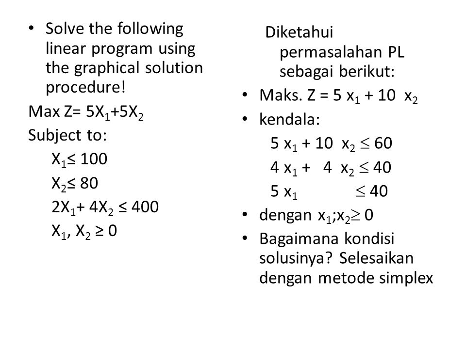 Solve the following linear program using the graphical solution procedure!