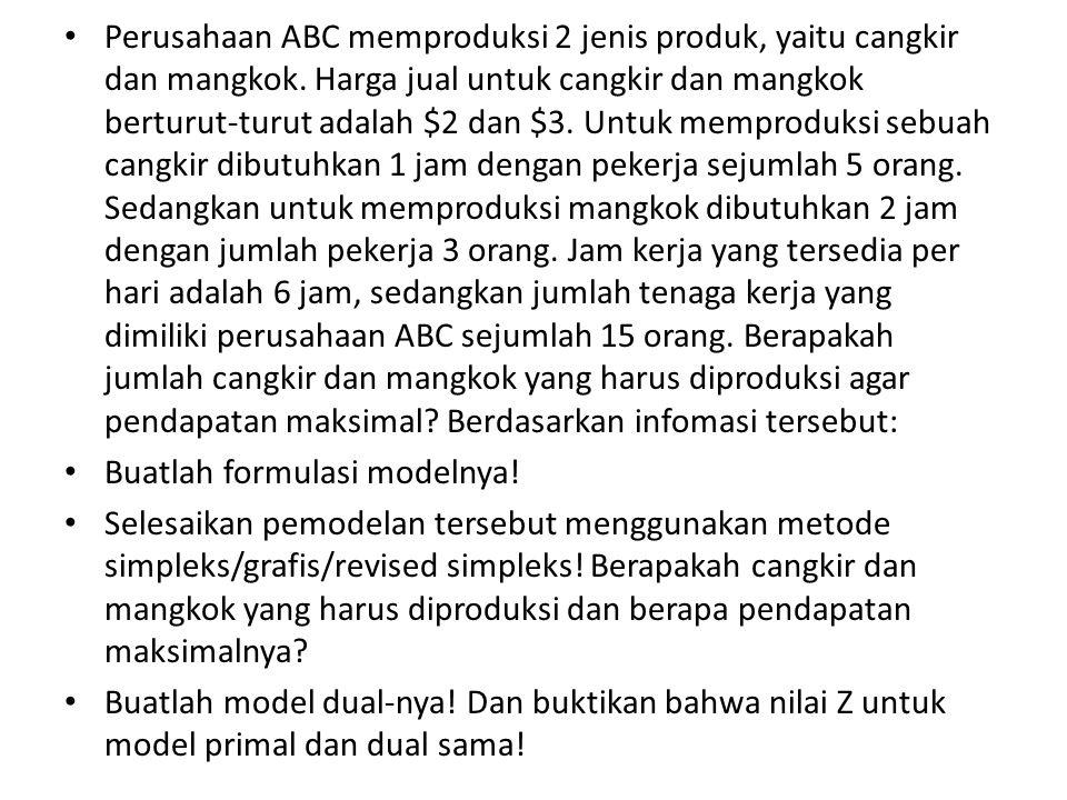 Perusahaan ABC memproduksi 2 jenis produk, yaitu cangkir dan mangkok