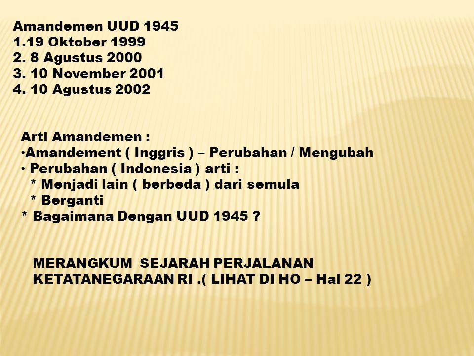 Amandemen UUD 1945 1.19 Oktober 1999. 2. 8 Agustus 2000. 3. 10 November 2001. 4. 10 Agustus 2002.