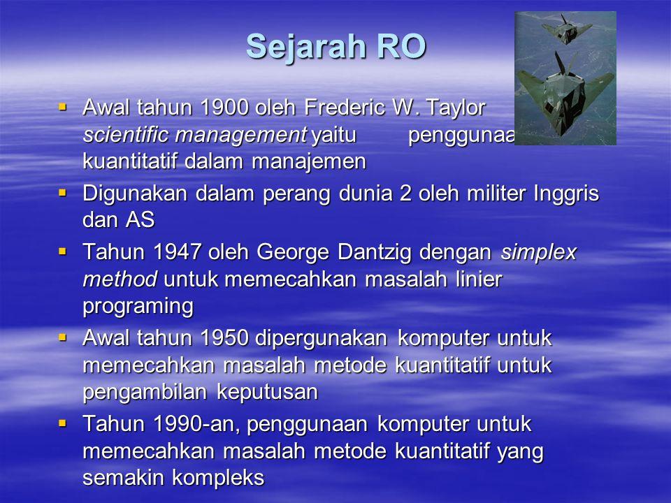 Sejarah RO Awal tahun 1900 oleh Frederic W. Taylor dengan scientific management yaitu penggunaan metode kuantitatif dalam manajemen.