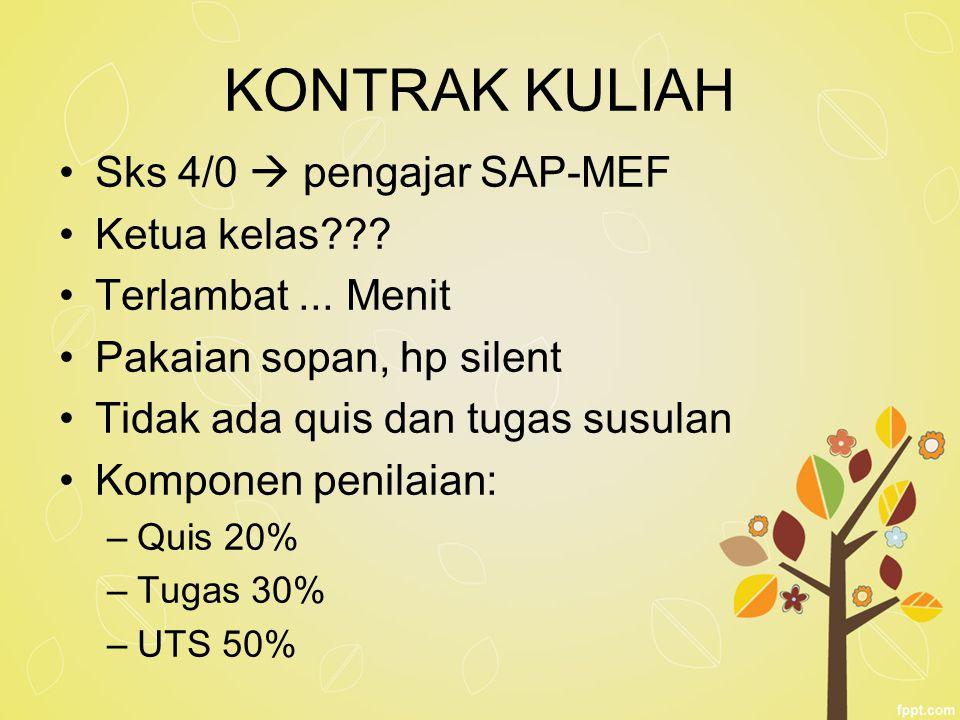 KONTRAK KULIAH Sks 4/0  pengajar SAP-MEF Ketua kelas