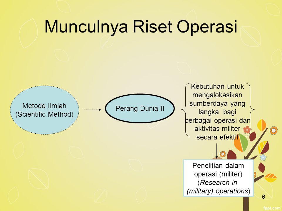 Munculnya Riset Operasi