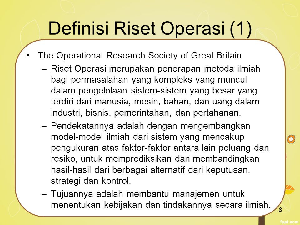 Definisi Riset Operasi (1)
