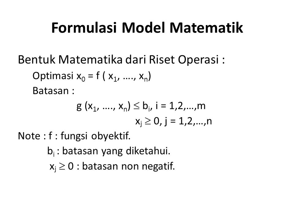 Formulasi Model Matematik