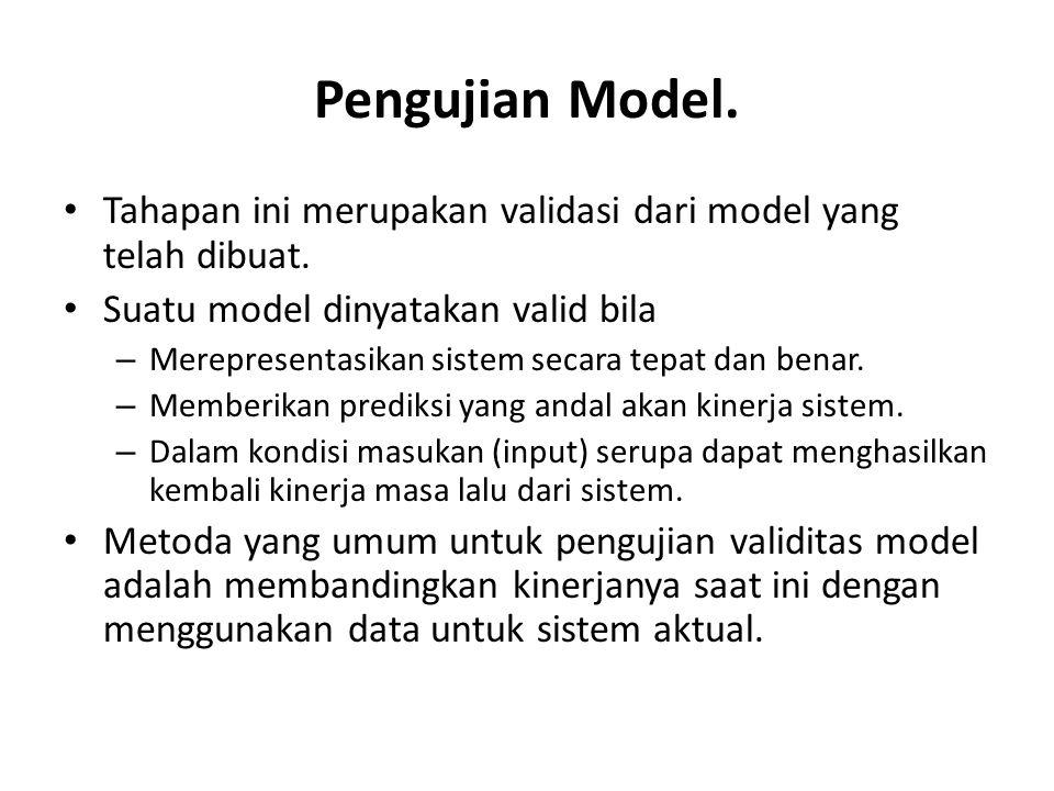 Pengujian Model. Tahapan ini merupakan validasi dari model yang telah dibuat. Suatu model dinyatakan valid bila.