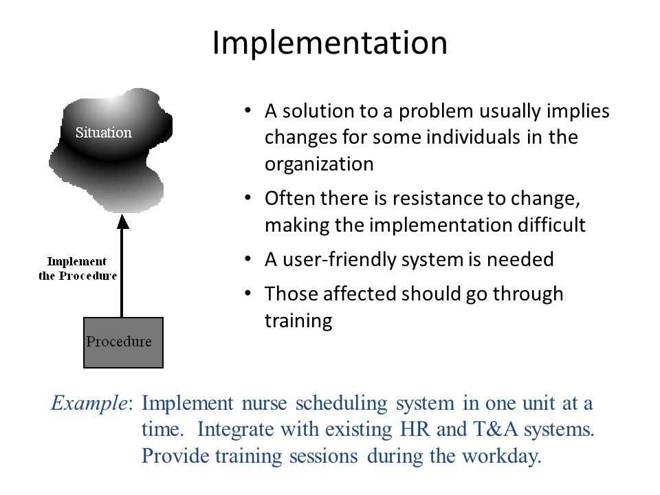 Implementation A solution to a problem usually implies changes for some individuals in the organization.