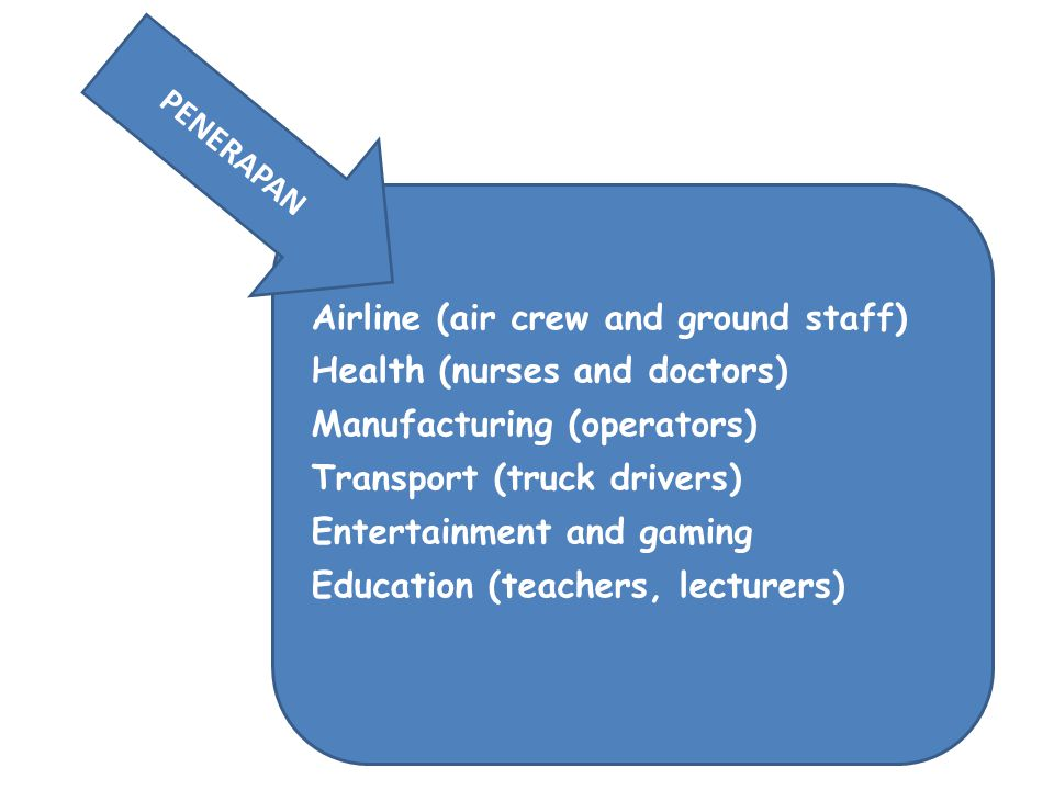 PENERAPAN Airline (air crew and ground staff) Health (nurses and doctors) Manufacturing (operators)