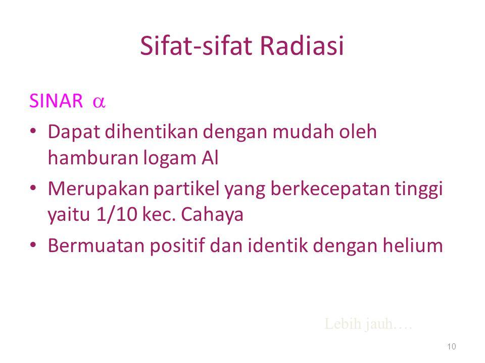 Sifat-sifat Radiasi SINAR 